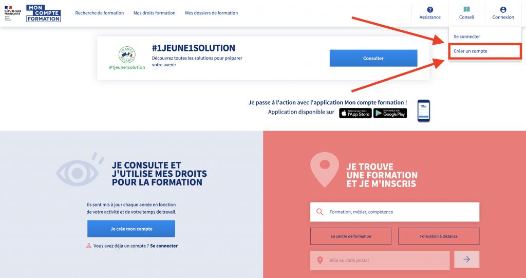 Portail MonCompteFormation, cliquer sur créer un compte en haut à droite sur le site internet